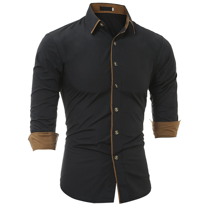 Men Shirt Fashion Brand Mens Cuff Solid color Long-Sleeved Shirt Male  Casual Slim  Homme