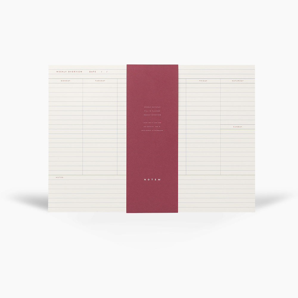 NOTEM Milo Weekly Planner Notepad - White & Blue - NOTEM studio