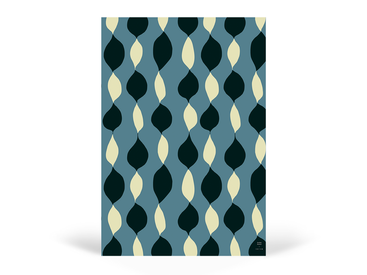 EDITH Wrapping paper, Drops, Blue - NOTEM studio