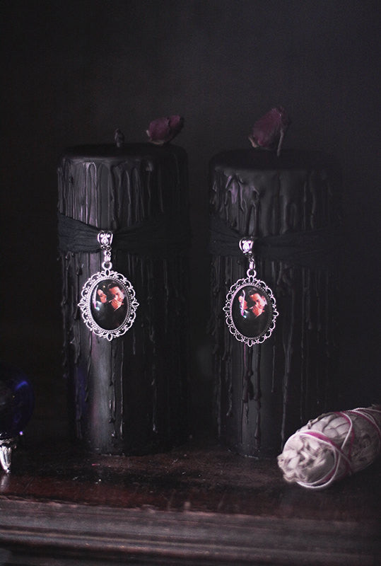 Gothic Black Addams family candle with dark red rose