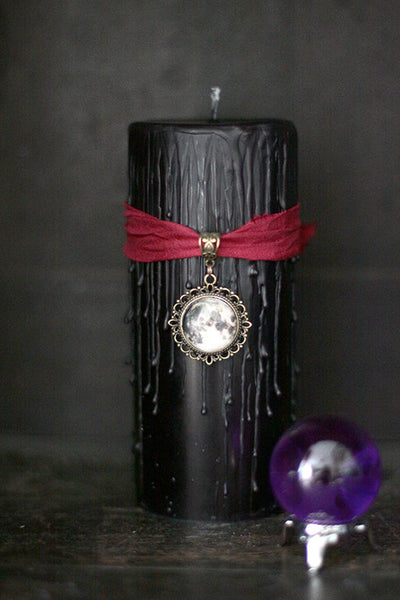 Black Full Moon Candle, witch spell book candle, Moon home decor gift, lunar phase pillar, Book of Shadows gift, gift for her, Gothic candle