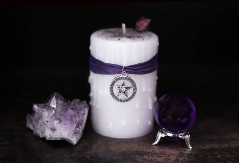 Wicca book of shadows candle, protection and healing, Witchcraft spell, Pagan ritual, pentagram rune charm, altar candle