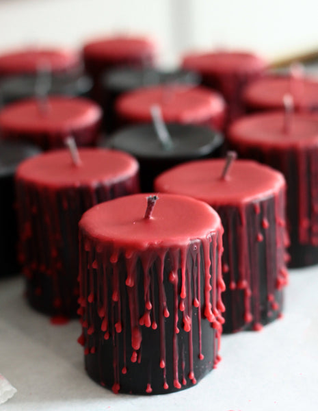 dripped, spooky undressed black and red pillar candle, Bridal gift, Goth home candle, themed home decor piece, psychobilly candle