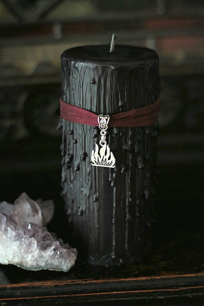 Odins Fire, Norse Mythological Candle, bonfire candle, ox blood and black pillar candle, Norse God candle, All father gifts, odinism candle