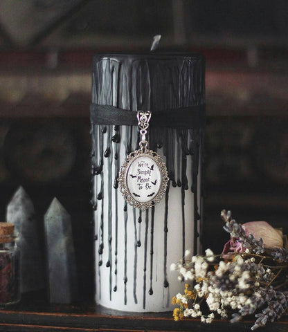 Jack and Sally, simply meant to be, valentines day goth gift, valentines candle, Romantic gift, gothic trinket, goth is goth, White candle