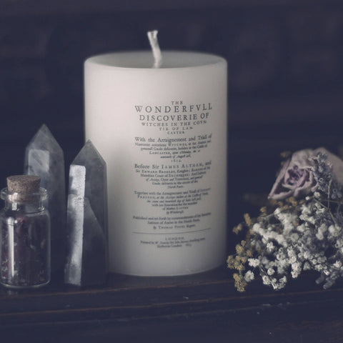 witch trial candle, English witch, Witchcraft, magic and lore, lancaster witches, gothic decor, goth, discovery, witches candle