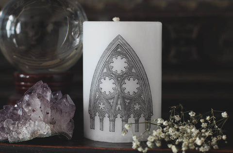 Gothic cathedral candle, medieval cathedral arch, unscented pillar candle, architecture design gift, art history, white unscented pillar