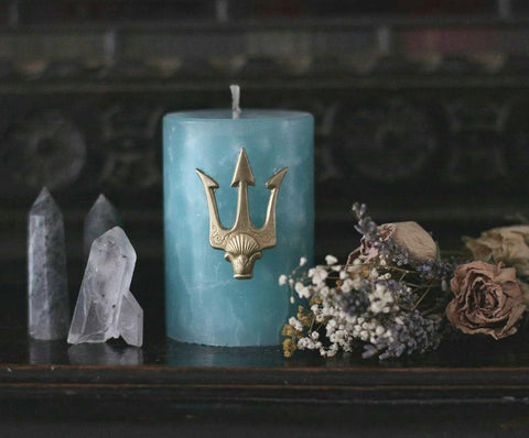 Poseidon trident, Neptune god of the sea candle, Sea god candle, turquoise and gold, trident candle pin, water ritual  candle