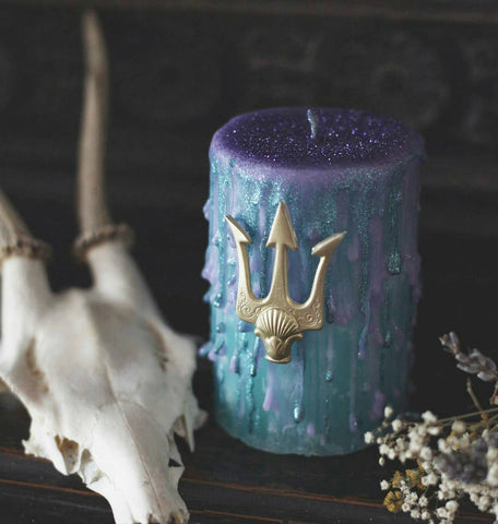 Glitter trident candle, turquoise and purple, with a gold resin candle pin, ocean candle, gifts for Pisces, pretty bathroom decor.