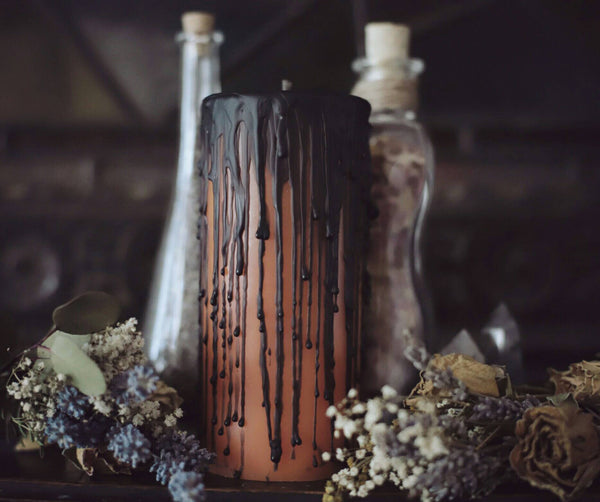 Halloween candle, orange and black pillar candle, autumn and fall decor, samhain ritual candles, undressed spell candle, samhain altar gift