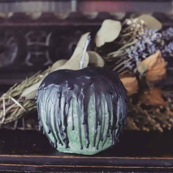 Poison apple candle, trick or treat, autumn decor, altar candle, apple spell candle, spooky halloween, bobbing for apples, fall home decor