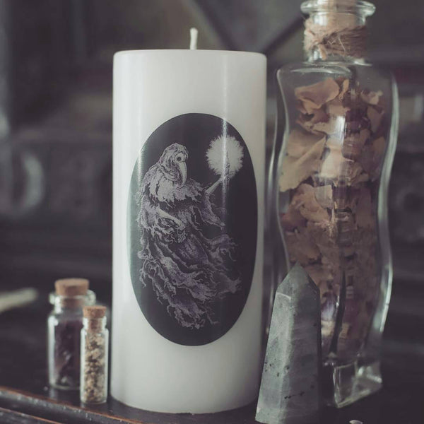 black death, plague doctor, goth candle, bubonic plague, historical candle, in delirium, history theme, ghostly pillar candle
