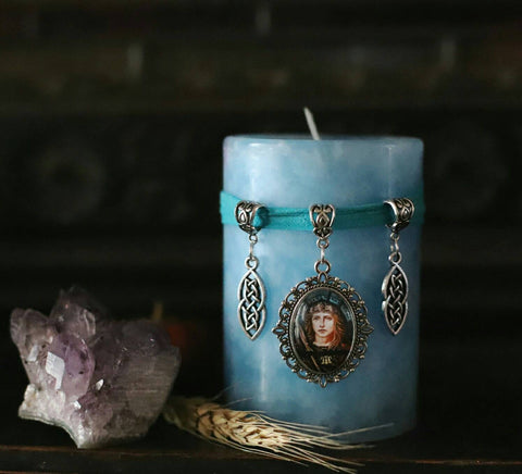 Boudicca ritual candle, stained glass style blue pillar candle, female empowerment spell candle, historical home decor, shieldmaiden