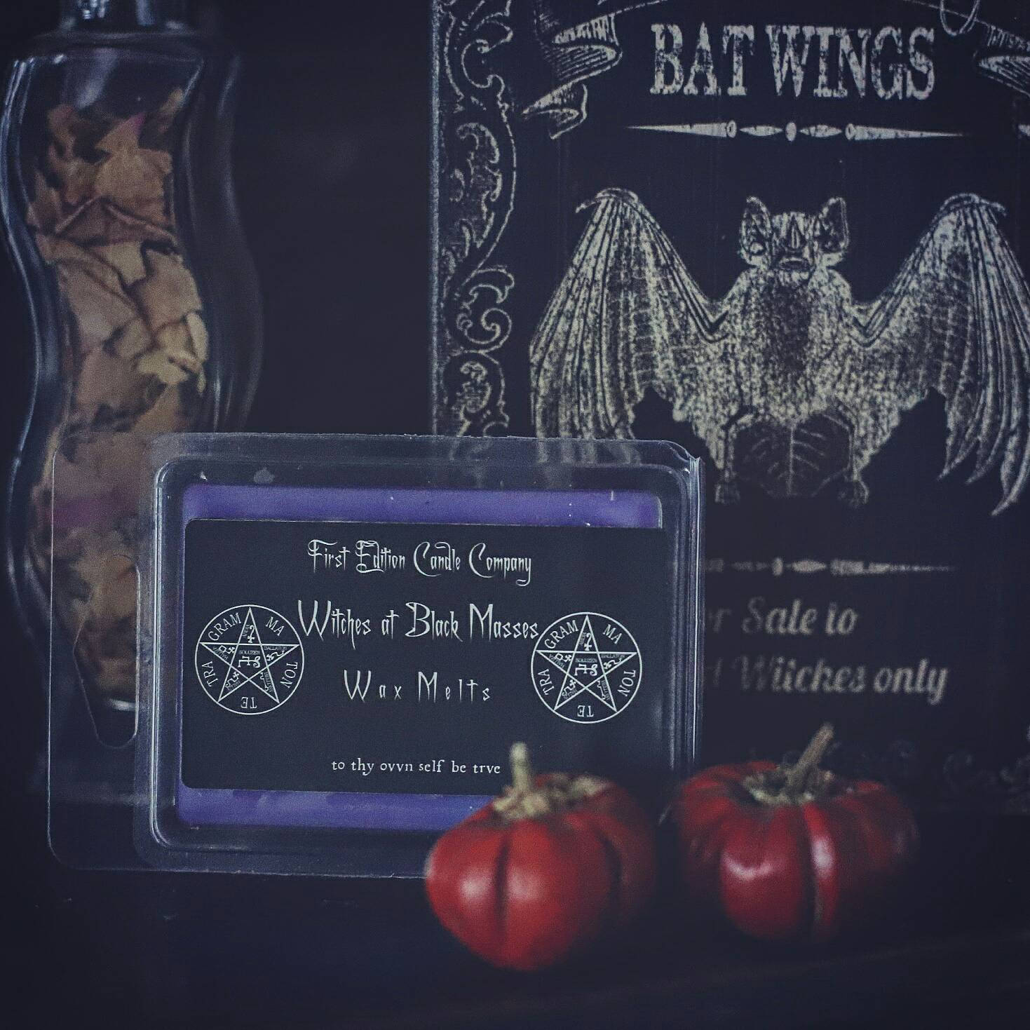 Coven wax melts, Black tea and cannabis flower scent, heavy metal home fragrancing, home fragrancing for goths and metalheads, purple wax