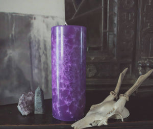 Haunted dark decor candle, purple candles, snowflake pattern altar candle, purple ritual candle,undressed magick and occult candle