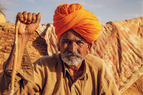 Indian man wearing ochre turban