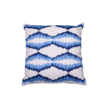Zigzag Embroidered Blue Cushion - Woven Riches