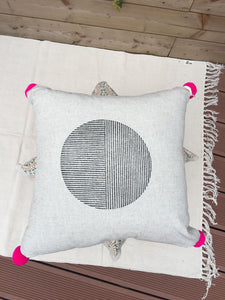 Pink Pom Pom Cushion - Woven Riches