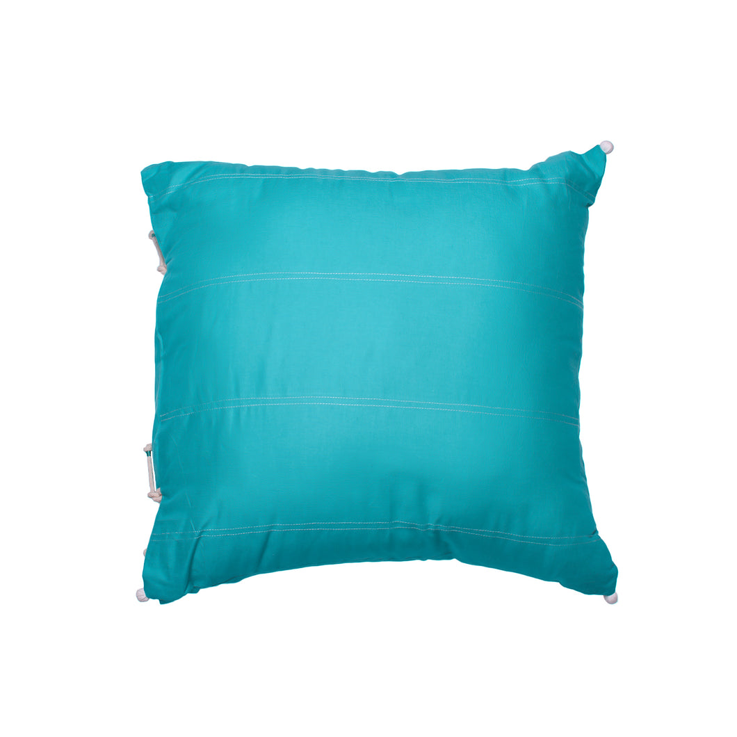 Turquoise Pure Cotton Cushion - Woven Riches