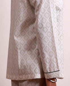 Earthy Green Block Print Diamond Pyjamas - Woven Riches NI