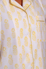 Yellow Pineapple Block Print Pyjamas - Woven Riches NI