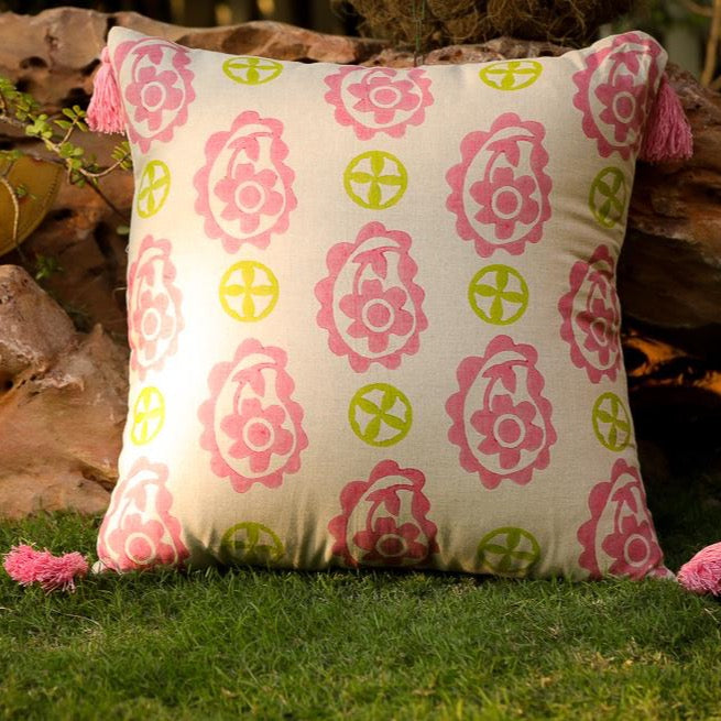 Hara Block Printed Cushion - Woven Riches NI