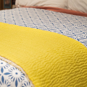 Yellow Quilted Kantha Throw - Woven Riches NI