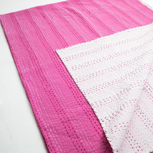 Classic Pink Kantha Throw - Woven Riches
