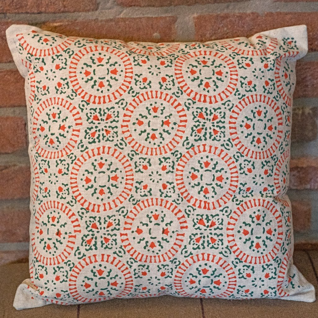 Sage Green and Coral Block Print Cushion