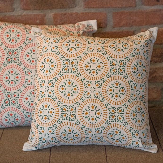 Sage Green and Mango Block Print Cushion