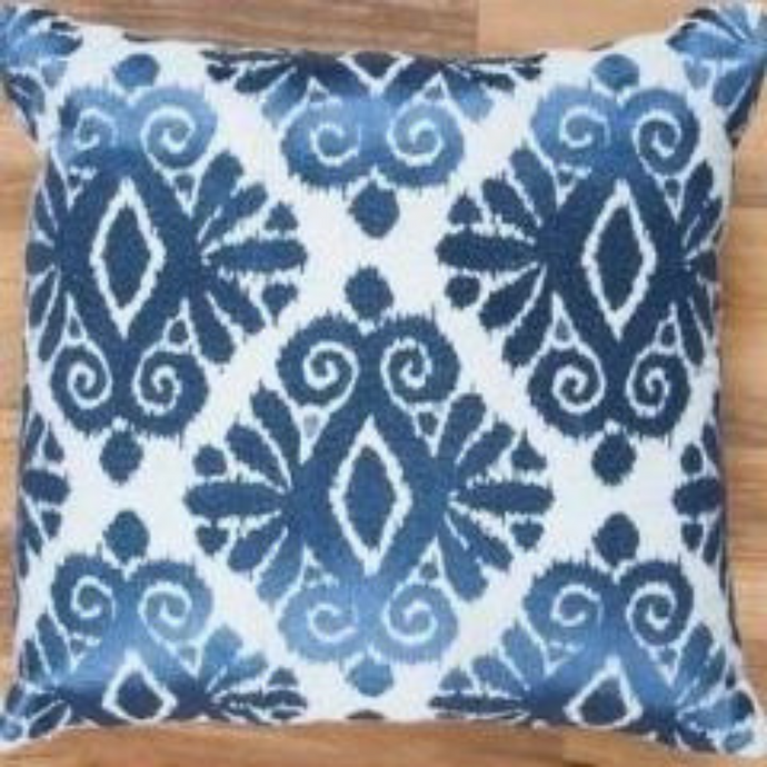 Royal Blue Ikat Embroidered Cushion - Woven Riches