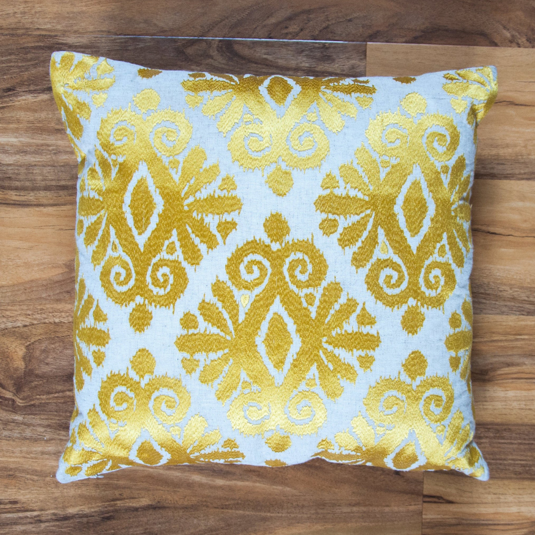 Gold Ikat Embroidery Cushion - Woven Riches