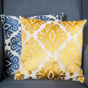 Gold Ikat Embroidery Cushion - Woven Riches NI