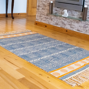 Lalit blue and orange block printed floor rug