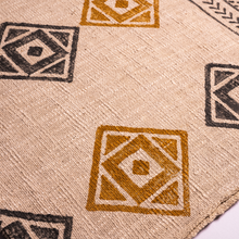 mustard and grey block printed geometric throw