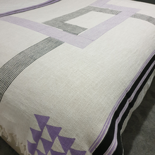 Lya Lilac and Black Geometric Throw - Woven Riches NI