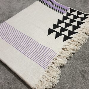 Lya Lilac and Black Geometric Throw