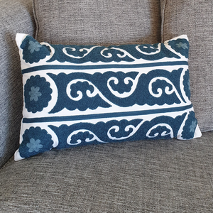blue chic embroidered cushion