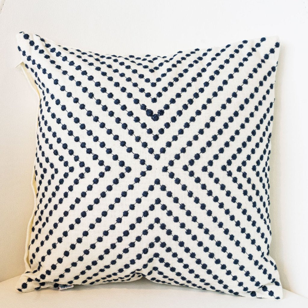 Dots Accent Navy Cushion - Woven Riches