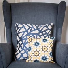 Royal Blue Geometric Embroidered Cushion