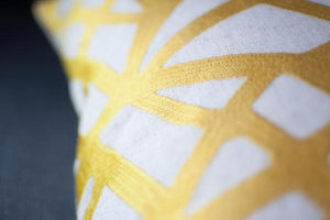 Gold Geometric Embroidered Cushion