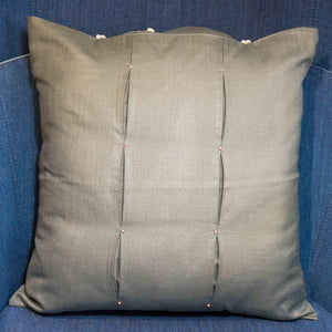 Grey Matka Silk Fabric Cushion - Woven Riches