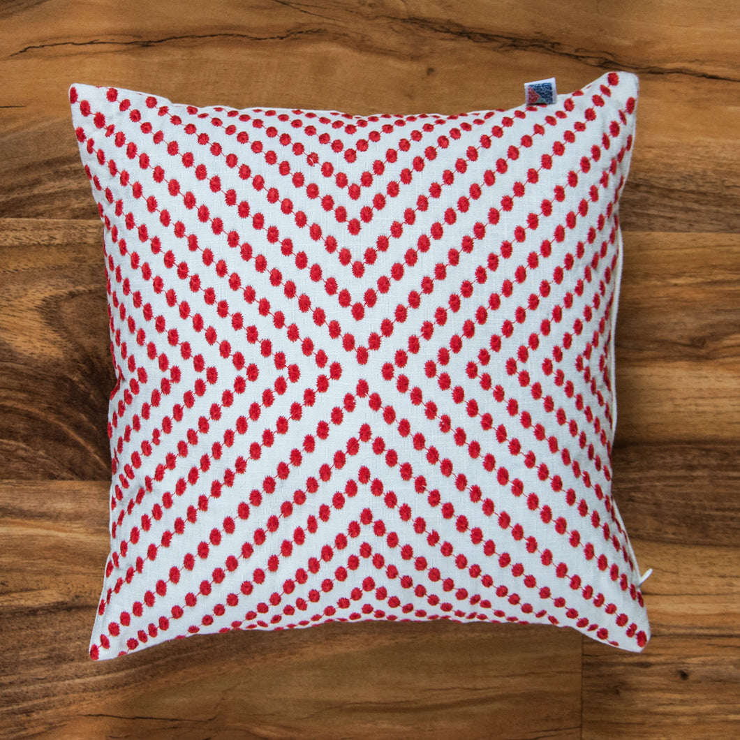 Dots Accent Red Cushion - Woven Riches