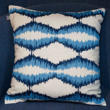Zigzag Embroidered Blue Cushion