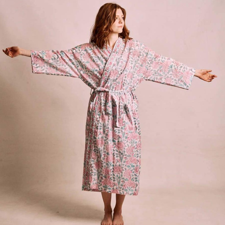 Jasmine Block Printed Robe - Woven Riches