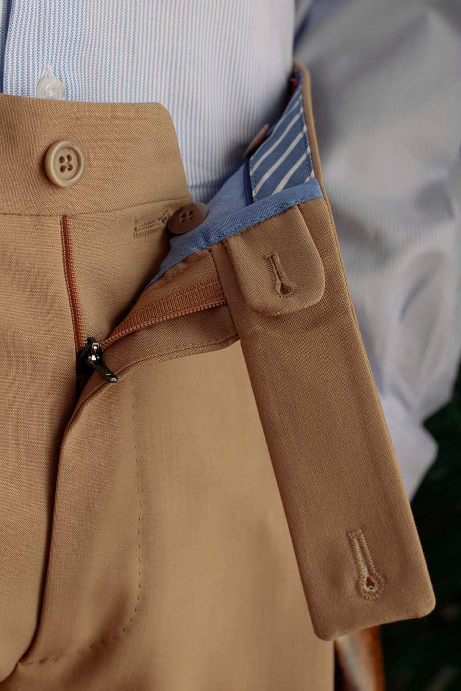 Limestone Tan Double Pleated Dress Trousers