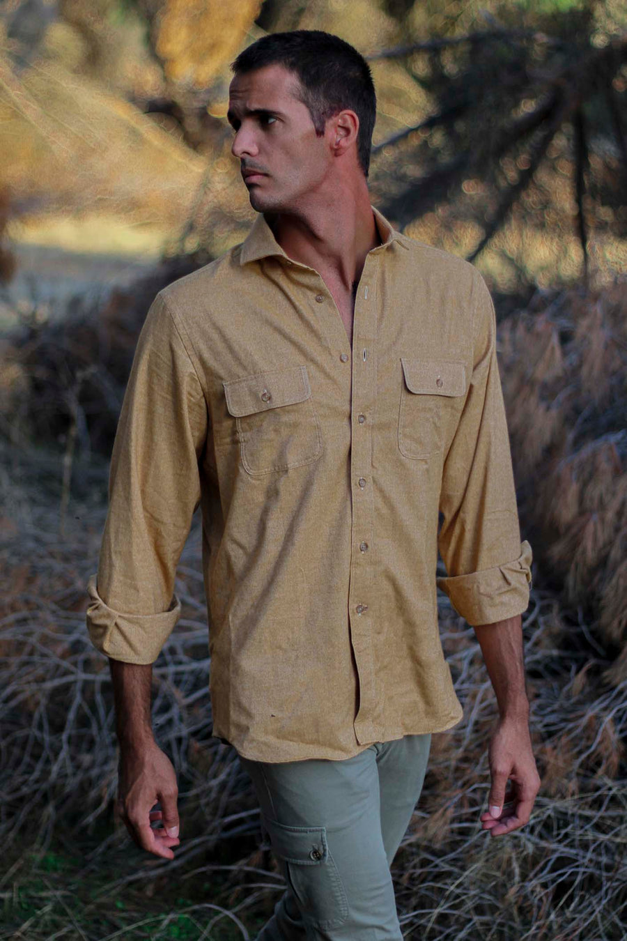 Frayed Mustard Double Pockets Flannel Shirt