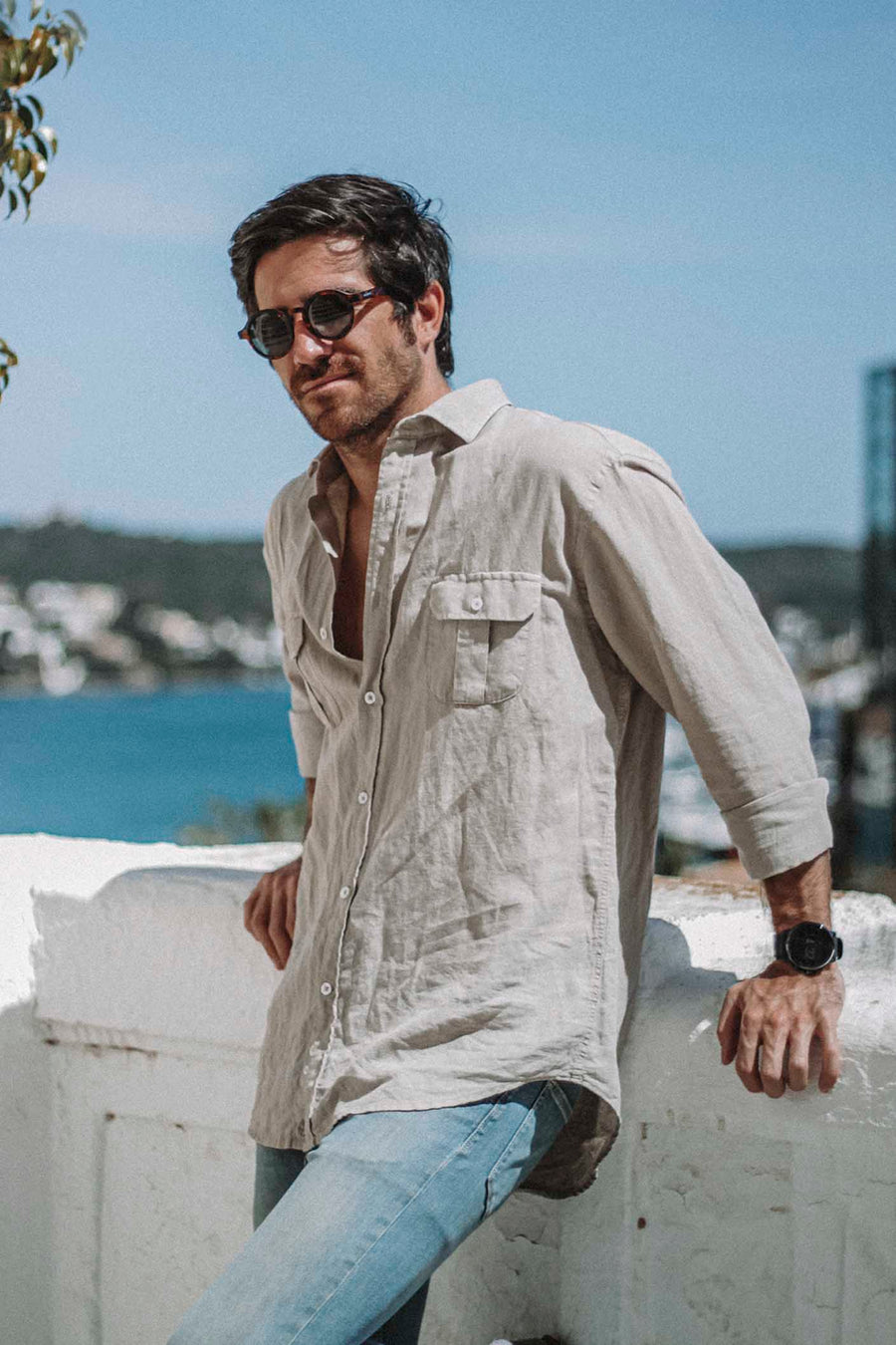 Explorer Sand Ivory Linen Shirt Worn Out