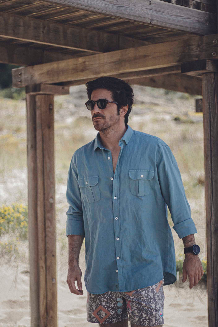 Explorer Linen Shirt Grayish Blue Worn