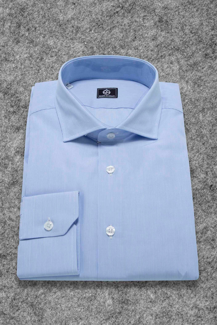 White and Light Blue Micro Striped Dress Shirt WITHOUT Cufflinks